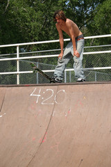 Sixteen year old boy at skatepark in Arkansas.