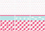 seamless baby girl pattern, pink wallpaper set