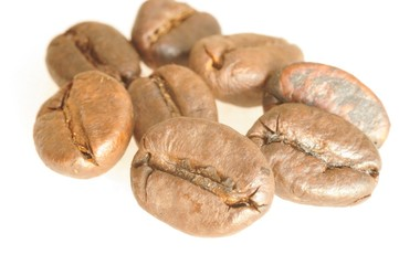macro shot of several brown coffee beans