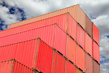 containers in logistics harbor