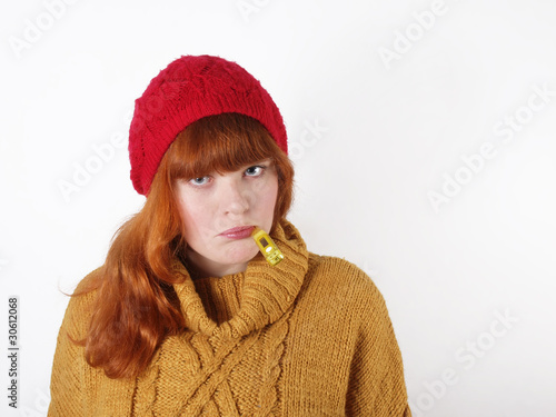 canvas print picture Frau mit Thermometer im Mund