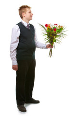 The pupil of the senior classeswith a bouquet of flowers..
