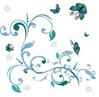stilyze flowers and butterflies. vector illustration