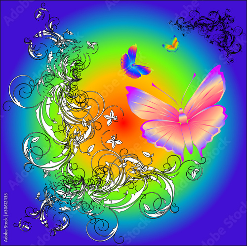 stilyze sun and abstract butterfly. vector illustration