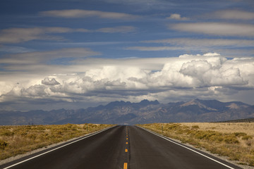 """Road and valley, Great Sand Dunes, Colorado, United States"""