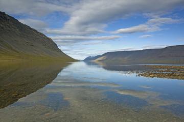"""Hill and lake, Dynjandisvogur, Iceland"""