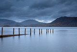 """Submerged pier on lake near Pitlochry, Scotland"""