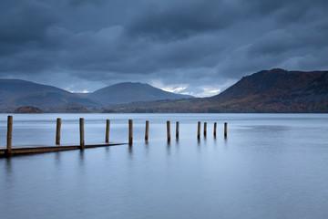 """Submerged pier on lake near Pitlochry, Scotland"""