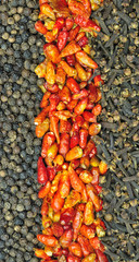 Peppercorns, red chillies and cloves