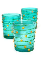 Blue votive candleholders