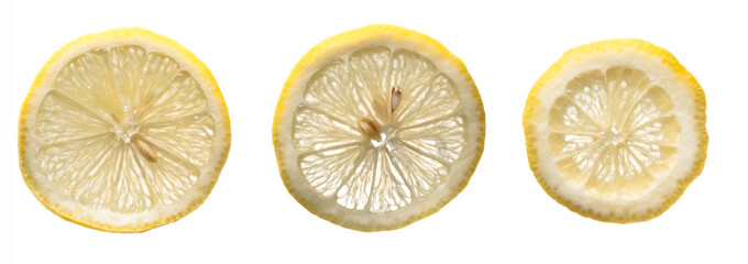 Three lemon slices on a white isolated background.