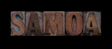 the word Samoa in old letterpress wood type