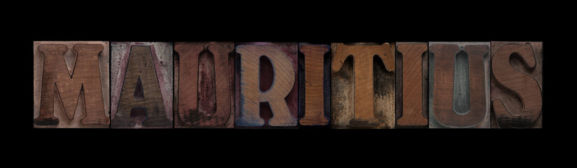 the word Mauritius in old letterpress wood type
