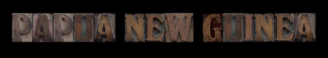 Papua New Guinea in old wood type