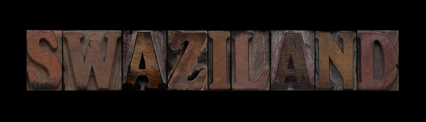 the word Swaziland in old letterpress wood type