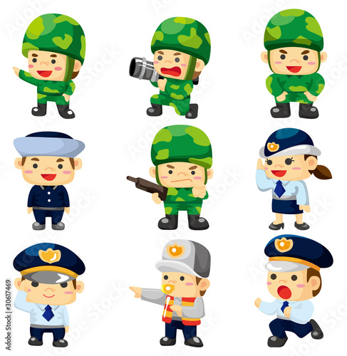 police hat icon. cartoon police and soldier
