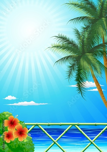 Mare Tropicale con Palme-Exotic Sea with Palmtrees-Vector