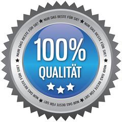 Button - 100% Qualität - Nur das beste für Sie - blau