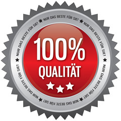 Button - 100% Qualität - Nur das beste für Sie - rot