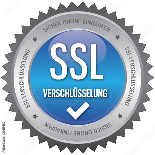 Button - SSL Verschlüsselung - blau