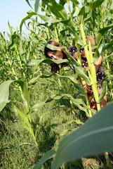 Teenage girl portrait on corn field