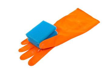 Rubber glove and kitchen sponge
