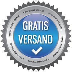 Button - 100% Gratis Versand - blau