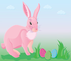 pink rabbit with decorated easter eggs