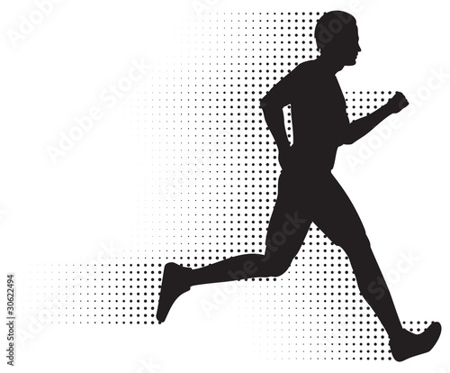 Vector Running Man Silhouette & Halftone Trail. No Gradients.