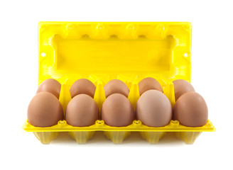 Isolate eggs in the package on a white background