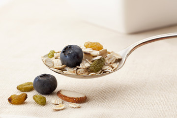 spoon of muesli cereal