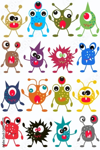 Spoed canvasdoek 2cm dik Schepselen seamless monster pattern