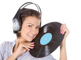emotional brunette in headphones with vinyl record over white poster