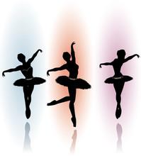 Ilustracji wektorowych z tańczących baletnic