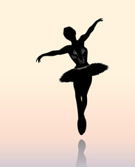 Vector Illustration of  Cute dancing  Ballerina