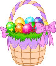 Koszyk wielkanocny z kolorowych jaj
