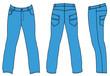 Blue man's jeans (front, back, side views)