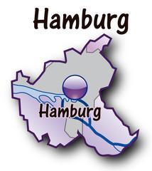 Hamburg Übersichtskarte flieder