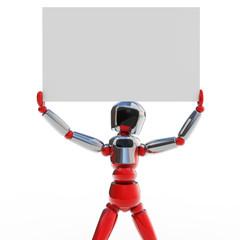 Robot levantando cartel