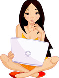 Young Asiatic woman sitting on cushion with laptop poster