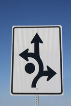 Roundabout Sign - White