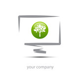 Logo enterprise, green tree # Vector poster
