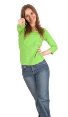 smiling casual girl in green blouse pointing you, series