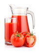 Jug, glass of tomato juice and fruits with green leaves isolated
