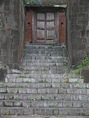 Wooden Door in wall of Nana Phadanwis wada, Wai, India