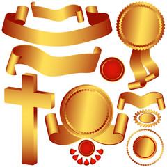Set metallic ribbons and labels