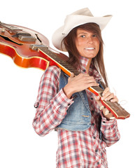 country girl with cowboy hat and electric guitar, series