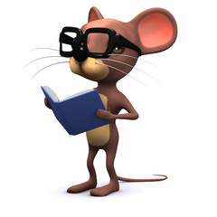 3d Mouse reads a book