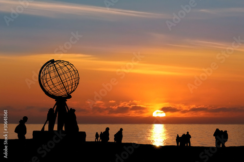 Foto op Canvas Scandinavië Nordkap b. Mitternachtssonne - North Cape w/ Midnight Sun