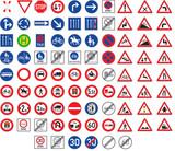 Fototapety Verkehrszeichen & Gefahrzeichen Set
